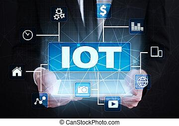 iot., internet, van, ding, concept., multichannel, online mededeling, netwerk