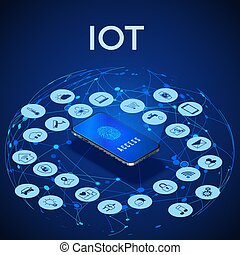 IOT isometric concept. Digital global ecosystem. Monitoring and control by smartphone. Vector illustration