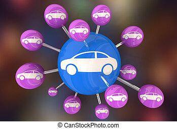 iot, networked, automobili, veicoli, illustrazione, automobili, collegato, 3d