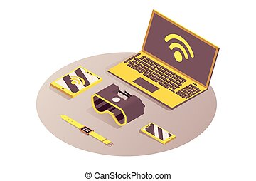 Iot, portable devices vector isometric illustration. Internet of things, cloud computing service, gadgets connected to wifi, telecommunication. Laptop, tablet, smartphone and VR glasses 3d