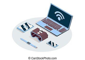 Iot, portable electronics vector isometric illustration. Internet of things, cloud computing service, synchronized gadgets connected to wifi. Laptop, tablet, smartphone and VR headset 3d