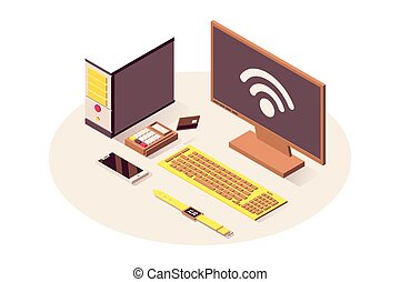 IoT technology vector isometric illustration. Cloud computing service, wifi wireless connection, telecommunication system. Computer, payment terminal, smartphone and smart watch isolated 3d