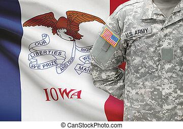 iowa, -, állam, bennünket, katona, lobogó, háttér, amerikai
