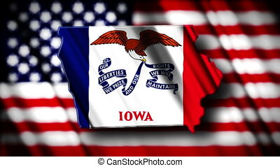 Iowa 03 - Flag of Iowa in the shape of Iowa state with the...