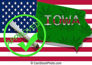 iowa, auf, cannabis, hintergrund., droge, policy., legalization, von, marihuana, auf, usa markierung