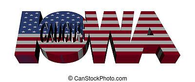 Iowa Caucus flag text illustration