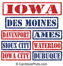 Iowa Cities stamps - Set of Iowa cities stamps on white ...