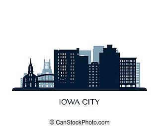 Iowa City skyline, monochrome silhouette.