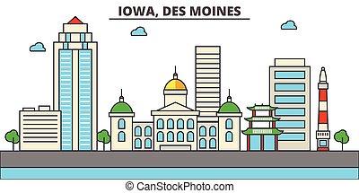 Iowa, Des Moines.City skyline: architecture, buildings, streets, silhouette, landscape, panorama, landmarks, icons. Editable strokes. Flat design line vector illustration concept.