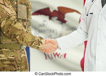 iowa, doctor, -, nosotros, uniforme, estados, banderas, ...
