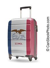 iowa, estado, -, él, bandera de los e.e.u.u, maleta