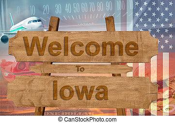 iowa, estados unidos de américa, bienvenida, madera, estado...