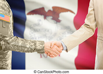 iowa, estados unidos de américa, civil, manos, -, estado, ...