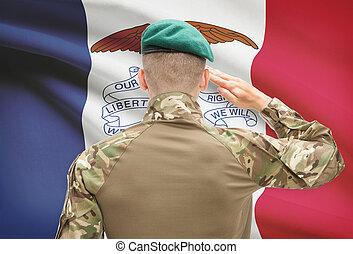 iowa, estados unidos de américa, serie, -, estado, soldado, ...