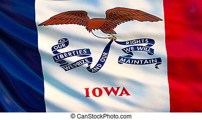 Iowa flag. 3d illustration