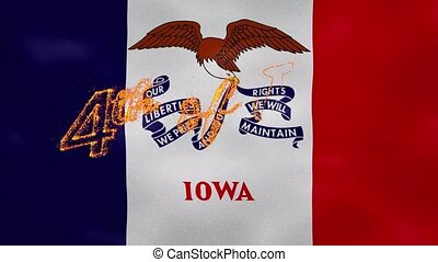 Iowa flag background for 4th of july sparkling fire lettering, loop