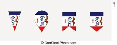 Iowa flag in vertical design, vector illustration