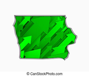 Iowa IA Arrows Map Growth Increase On Rise 3d Illustration