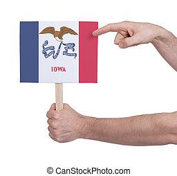 iowa, -, mano, bandera, tenencia, pequeño, tarjeta