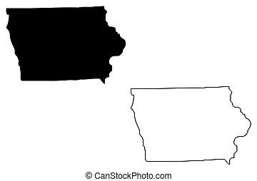 Iowa map vector illustration, scribble sketch Iowa map