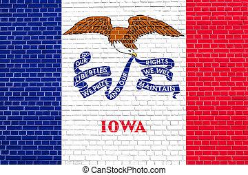 iowa, pared, textura, bandera, plano de fondo, ladrillo