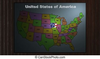 Iowa pull out from USA states abbreviations map - State Iowa...