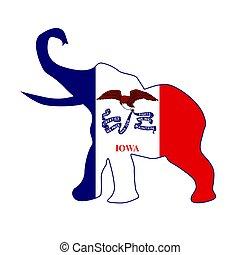 Iowa Republican Elephant Flag