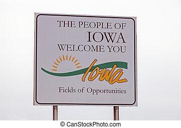 iowa, señal, bienvenida