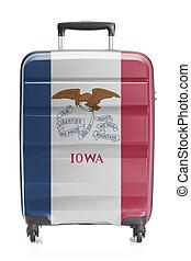 iowa, serie, -, estado, bandera de los e.e.u.u, maleta