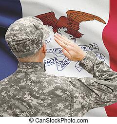 iowa, serie, -, estado, nosotros, soldado, bandera, saludar