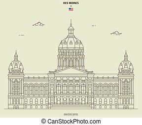 Iowa State Capitol in Des Moines, USA. Landmark icon in linear style