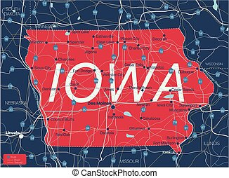 Iowa state detailed editable map
