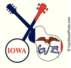 Iowa State Flag Banjo And Guitar Silhouette