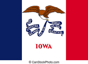 Iowa state flag of America, isolated on white background.