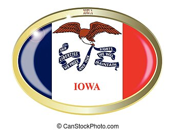 Iowa State Flag Oval Button