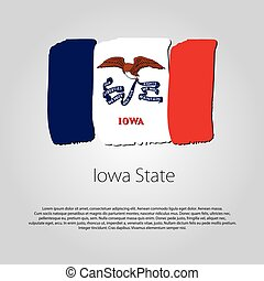 Iowa State Flag with colored hand drawn lines in Vector Format