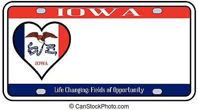 Iowa State License Plate - Iowa state license plate in the...