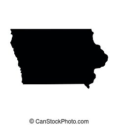 Iowa, state of USA - solid black silhouette map of country...