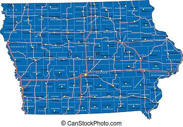 Iowa state political map