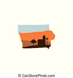 Iowa State Shape with Farm at Sunset w Windmill, Barn, and a Tree