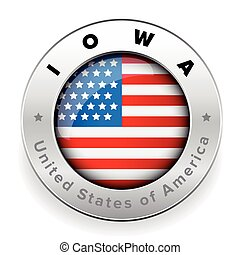 Iowa Usa flag badge button