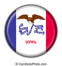 Iowa (USA State) button flag round shape