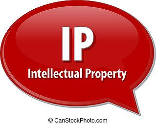 IP acronym word speech bubble illustration