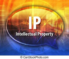 IP acronym word speech bubble illustration - word speech...