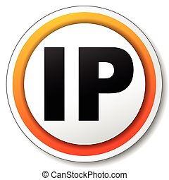 ip address icon - illustration of orange round icon for ip...
