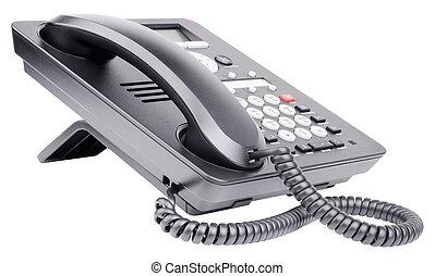 ip, blanc, téléphone, bureau, isolé