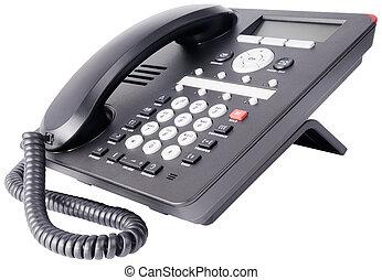 ip, branca, telefone, escritório, isolado