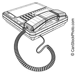ip, lcd, conjunto, teléfono, oficina