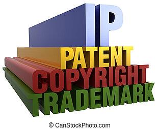 ip, patente, direitos autorais, marca registrada, palavras