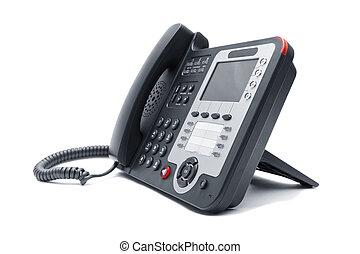 IP phone close up isolated - Black IP phone close up...